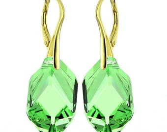 14k Gold Over 925 Sterling Silver Cubist Swarovski Crystal Leverback Earrings