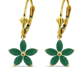 2.8 Ct 14k Solid Gold Leverback Earrings Natural Emerald (Yellow Gold, White Gold, Rose Gold)