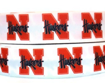 7/8 inch Grosgrain Nebraska Cornhuskers Ribbon, Huskers Grosgrain, Huskers Ribbon, Sports Ribbon, Ribbon By The Yard by KC Elastic Ties