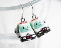 SUPER KAWAII COLLECTION:Mini police car earring,miniature earring,resin earring,small cute Christmas gift.birthday gift,for car lovers
