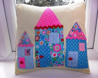 "HANDMADE Girls Applique 14x14"" cushion cover with 3 little houses - very adorable !!!"