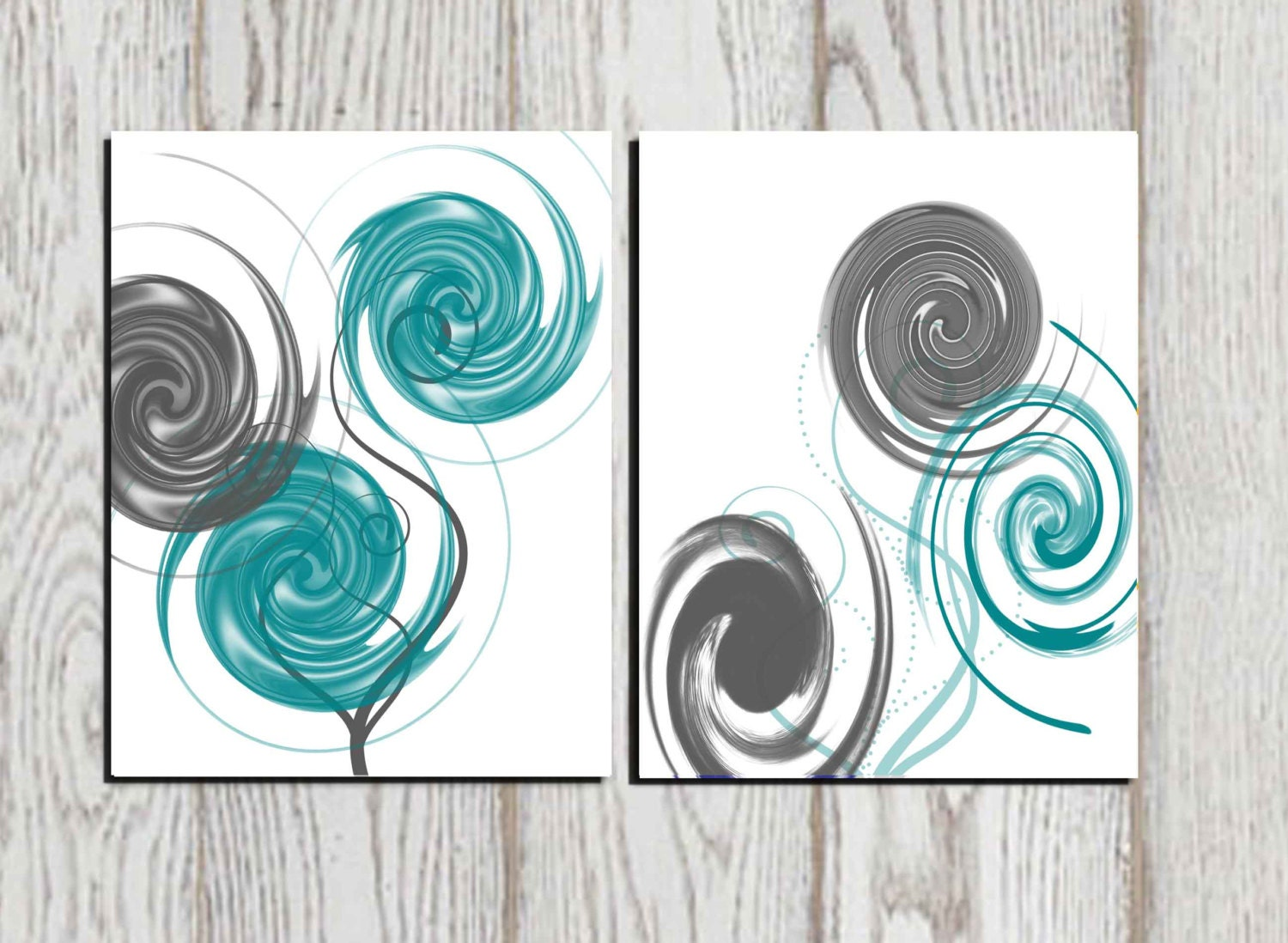 abstract art abstract print gray teal white printable home