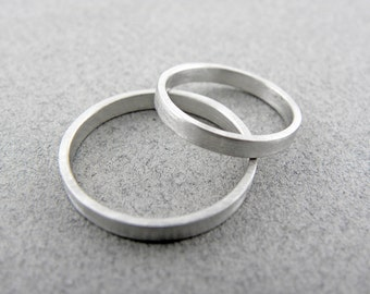 14k White Gold Wedding Ring Set - Handmade Brushed Finish Wedding Rings - His and Hers Wedding Ring Set - 2 x 1.2mm