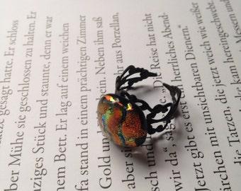 Fused glass filigree ring