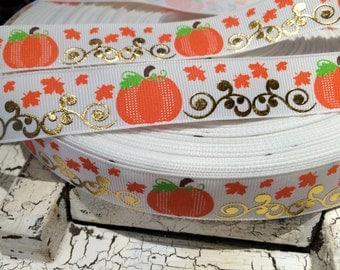 "3 yards 7/8"" Fall PUMPKIN Gold Foil on White Grosgrain Ribbon"