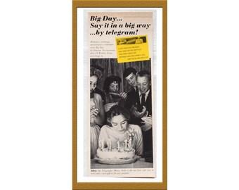 "1945 Western Union Print AD / Telegram Telegraphic Money Order / 5"" x 12"" / Original Advertisement / Buy 2 ads Get 1 FREE"
