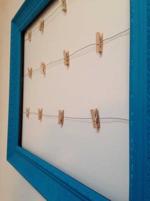 Items similar to clothesline wire hanging picture frame for Hang photos from wire