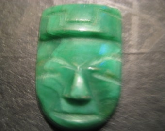 Vintage Carved Apple GREEN JADE MASK Collectable