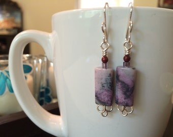 handmade purple agate dangle earrings