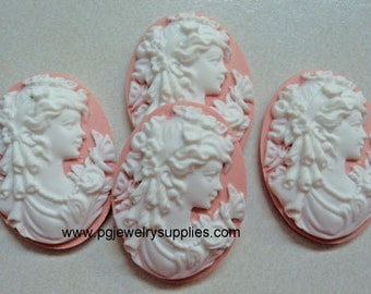 25mm x 18mm Vintage Ringlet hair lady profile cameos white on pink 4 l