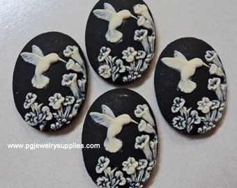 25mm x 18mm hummingbird on flowers cameos ivory on black 4 pieces lot l