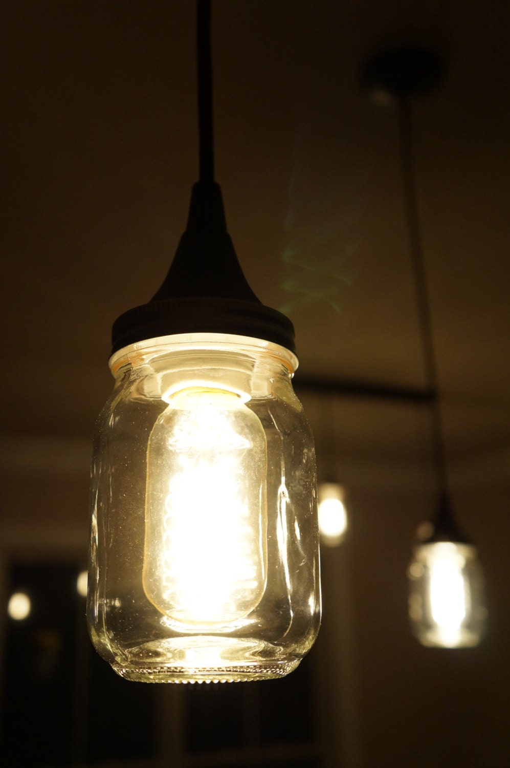 Hanging mason jar pendant light fixtures w by for Hanging lights made from mason jars