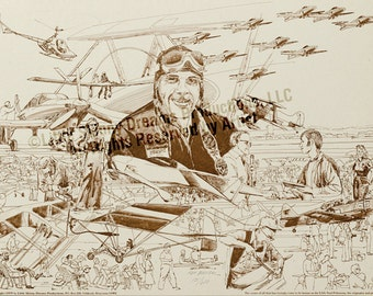 LIQUIDATION SALE! Tribute Print: Paul Poberezny, the late Founder of the internationally world-famous annual fly-in held in Oshkosh