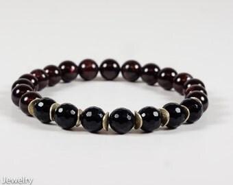 Garnet Black Onyx Root Chakra Bracelet, Beadwork Bracelet, Gemstone Bracelet, Gemstone Bracelet, Handmade Jewelry, Gemstone Jewelry