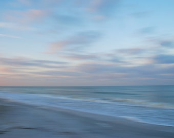 Blue Ocean Sunrise, Beach and Sand, Impressionism and Dreamy, Calm