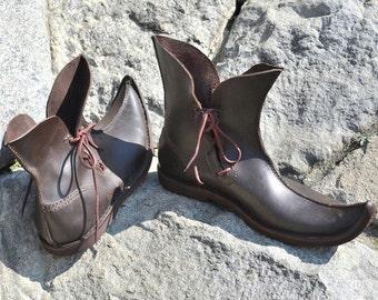 Poulaines lederen middeleeuwse schoenen laarzen-sandalen-Middeleeuwen