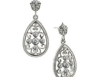 Victorian Sparkle Teardrop Crystal Filigree Drop Earrings Silk Road Jewelry