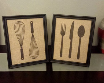 Framed Burlap Print   2 Piece Kitchen Art   Whisk   Fork Knife Spoon    Country
