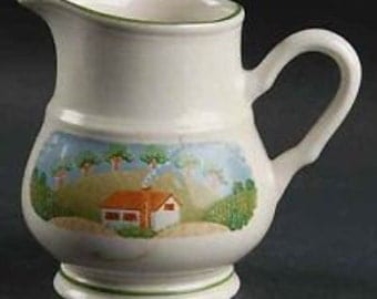 Sango Country Cottage Sugar Bowl with Lid and Creamer Pitcher