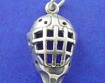 HOCKEY Mask Charm .925 Sterling Silver Hockey Player, Sports Pendant - lp2124