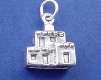 ADOBE HOUSE Charm, Pueblo, Arizona, New Mexico .925 Sterling Silver Charm