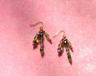 glass bead earrings, purple and green earrings