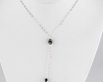 Faceted Black Onyx and Sterling Silver Handmade Lariat Neklace