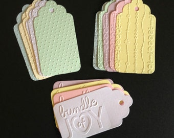 10 Handmade Embossed Baby feet gift tags for presents baby showers christening baby albums