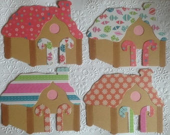 4 Large Sizzix Gingerbread House Card Toppers for Christmas Festive Cards Card making Scrapbooking Craft Project