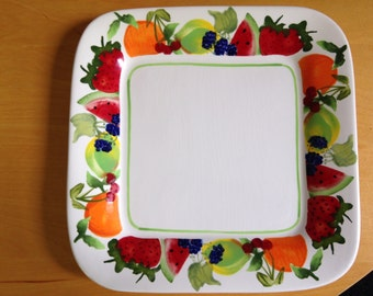 Unique square colorful  fruit plate