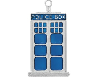 1 Small Tardis Police Box Charm Pendant 1 Inch Long Blue and Silver Charms Wedding Favors