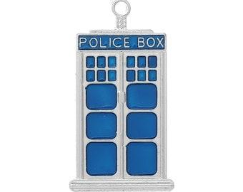 1 Small Tardis Police Box Charm Pendant 1 Inch Long