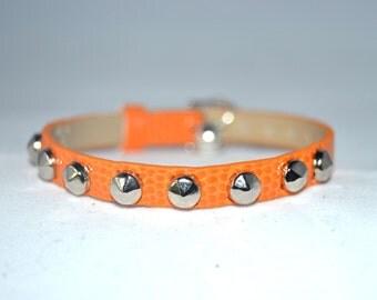 Small Studded XS Cat Kitten Collar, Pumpkin Orange, Fake Lizard pattern Leather, Silver Studs