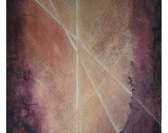 Book of Life Collage- Mixed Media- 22x30- Large Acrylic Abstract on Paper- Hidden C Names, Light Rays, Spiritual- Purple, Cream, Pink