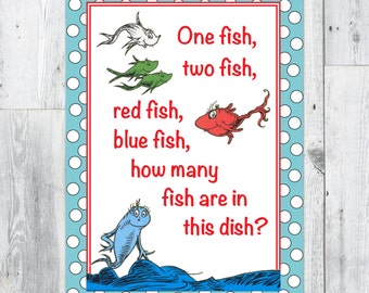 Dr. Seuss Party Game, Number of Fish Guessing Game Printable Sign