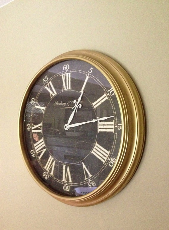 large gold wall clock hand painted hollywood by farmhousefare