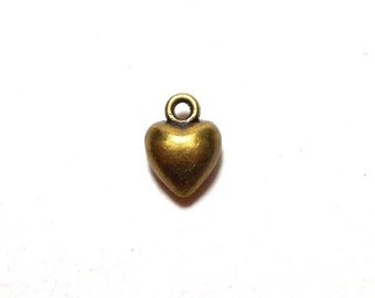 6 Tiny Heart Charms, 7mm, Antique Bronze Puffy Hearts Charms, Heart Charm, Bronze Heart Charms, Tiny Heart Charms, Tiny Charms  BC0019