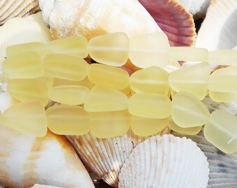 Yellow Sea Glass Beads, Yellow Beads, Small Flat Free form Sea Glass, Light Yellow Sea Glass, Matte Glass Beads, Ocean Beads, D-H01