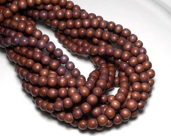 6mm Purple Brown Wood Beads, Round .Wood Beads,  Rosy Brown Beads, Dyed Wood Beads, Wooden Beads, Rustic Beads. Earth Beads D-M02B
