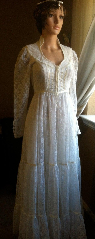 Wedding dress gunne sax white lace vintage for Gunne sax wedding dresses