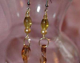Long Dangle Beaded Earrings in subtle colors