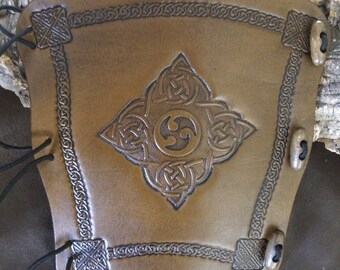 Embossed Celtic Triskele leather archery arm guard,  bow bracer, armguard, larp, pagan