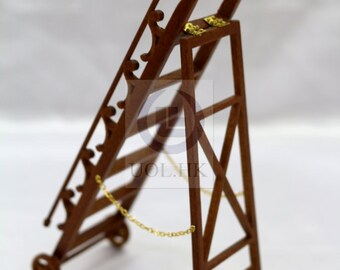 """Miniature 1"""" Scale Library ladder For Doll House [Finished in walnut]"""