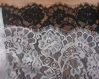 "9""*3yards DIY white Eyelash lace ribbon rose flower ribbon DIY material fabric white trim organza lace for wedding black Eyelash lace"