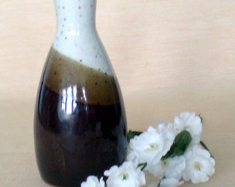 Three Tone White and Brown Vase with Speckling