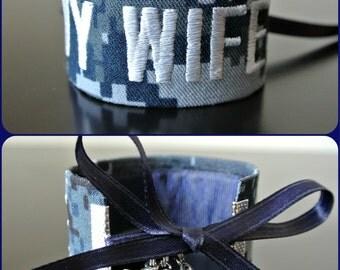 Navy Wife Name Tape Bracelet