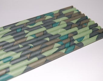 Camouflage Paper Straws - 25/pack - Green Camouflage, Camo, Military, Hunting, Outdoors, Camping
