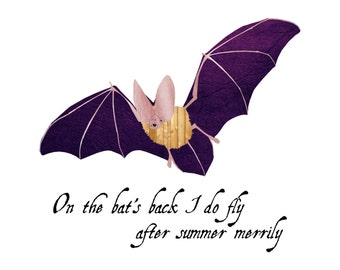 Bat - Nursery Art - Wall Art - 8x8 Fine Art Print - Shakespeare Quote - The Tempest - Shakespeare's Zoo