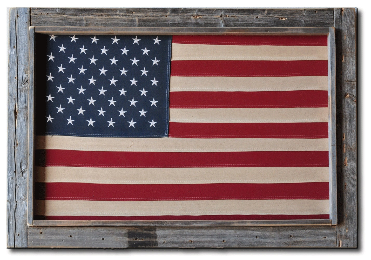 Barnwood Rustic Framed Cotton Tea Stained American Flag