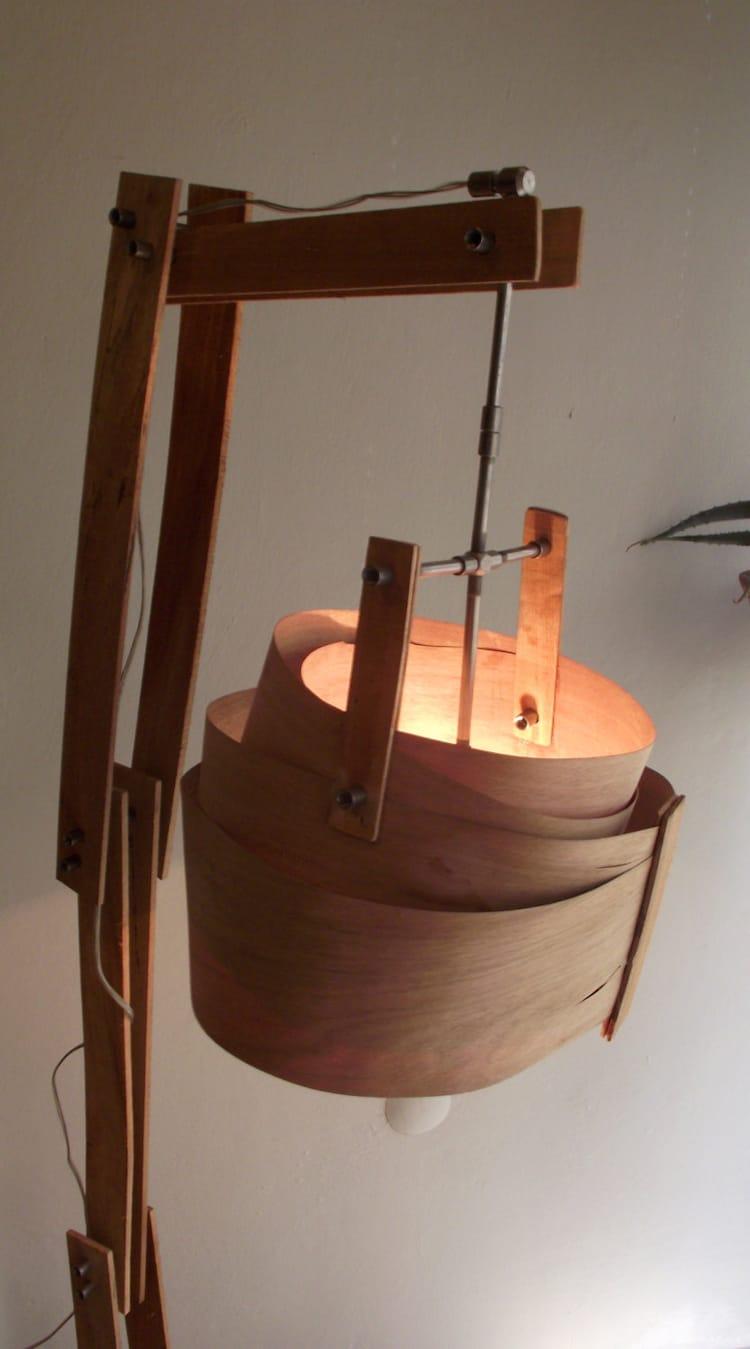 Wooden floor lamp rustic floor lamp handmade wood by for Wooden floor lamp etsy